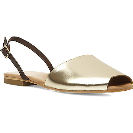 DUNE BLACK Majorcan peeptoe sandals (Gold-leather