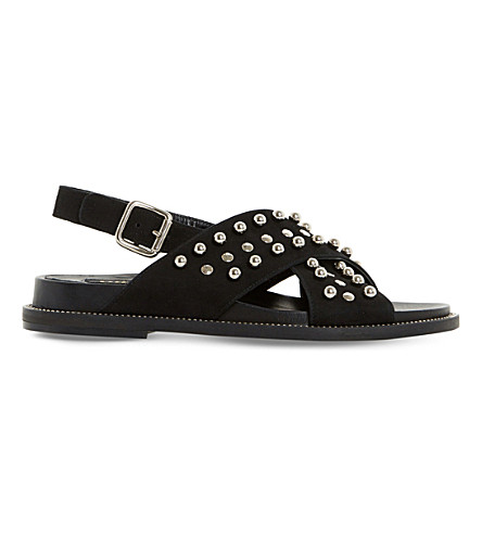 DUNE BLACK Loyal studded suede sandals (Black-suede