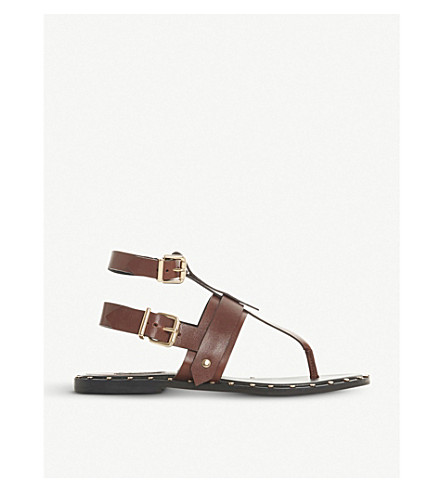 DUNE BLACK Lorrenzo studded leather gladiator sandals (Brown-leather