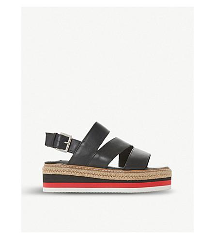 DUNE BLACK Espadrille leather stacked flatform sandal (Black-leather