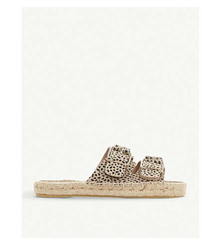 DUNE BLACK Luso double-buckled leather espadrille sliders (Leopard