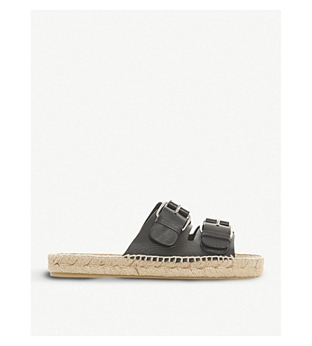 DUNE BLACK Luso double-buckled leather espadrille sliders (Black-leather