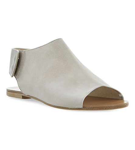 Black Leather Summer Women Shoe With Covered Toe And Back