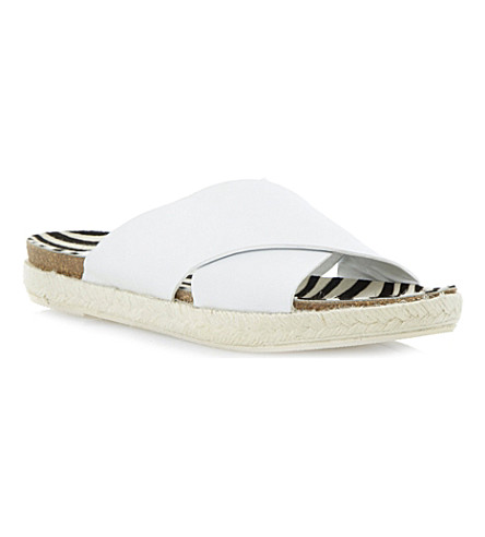 DUNE BLACK Cross-strap sandal (White-leather