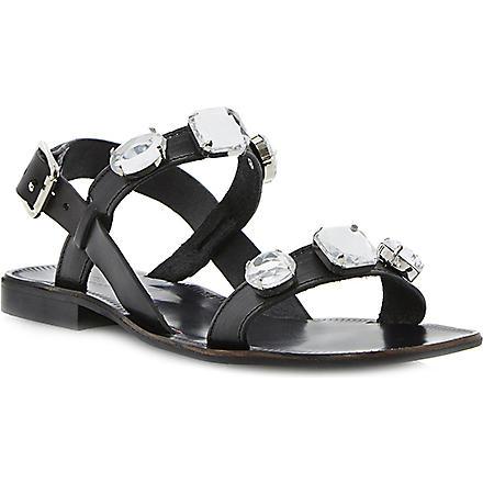 DUNE BLACK Libbi double-strap jewel sandals (Black-leather