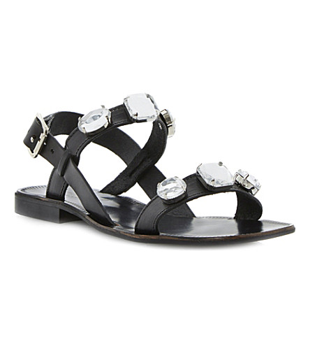 DUNE BLACK Libbi double-strap jewel sandals (Black-leather