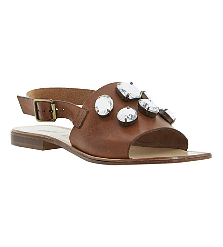 DUNE BLACK Lexi embellished leather sandals (Tan-leather