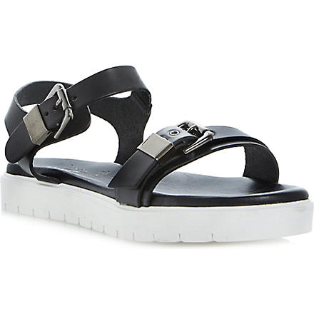 DUNE BLACK Laurie flatform leather sandals (Black-leather