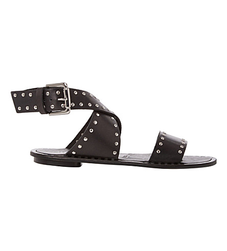 DUNE BLACK Lexxie studded leather gladiator sandals (Black-leather