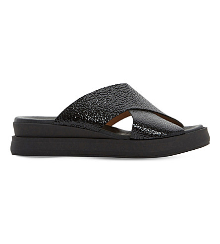 DUNE BLACK Lust patent-leather slide sandals (Black-metallic