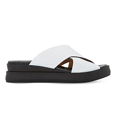 DUNE BLACK Lust patent-leather slide sandals (White-leather