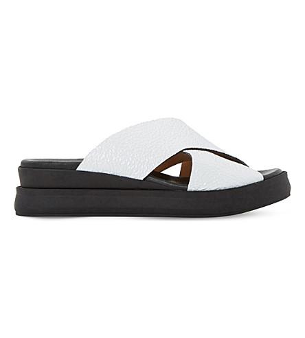 DUNE BLACK 欲专利-皮革滑动凉鞋 (白色皮革