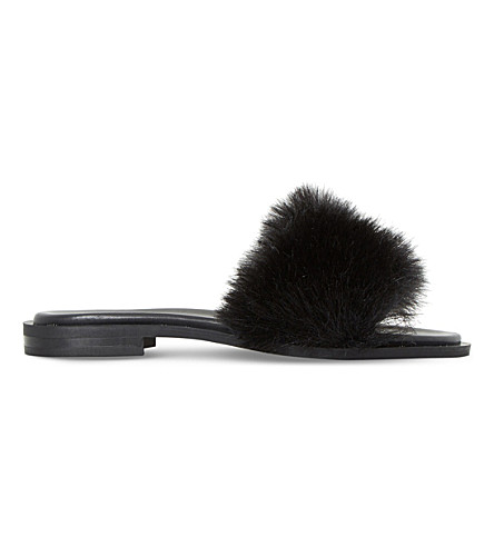 DUNE BLACK Lorel faux-fur sandals (Black-+faux+fur