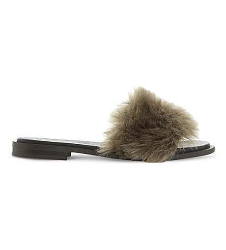 DUNE BLACK Lorel faux-fur sandals (Grey-faux+fur