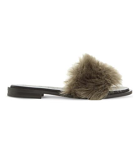 DUNE BLACK Lorel faux-fur sandals (Grey-faux+fur