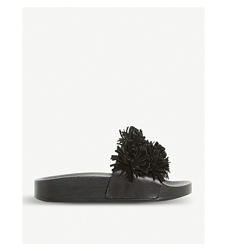 DUNE BLACK Lagoon fringed leather sliders (Black