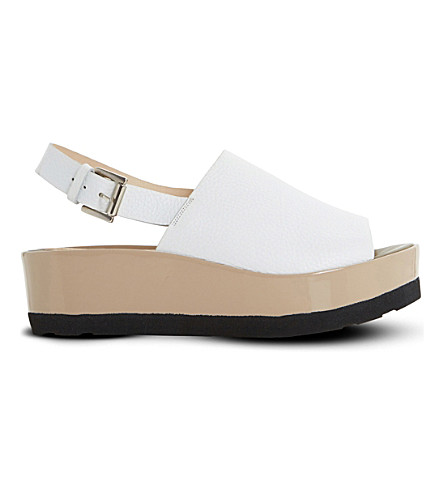 DUNE BLACK Leader leather flatform sandals (White-leather