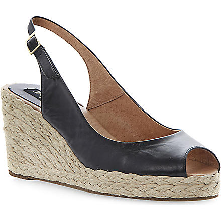 DUNE BLACK Lara slingback espadrille wedges (Black-leather