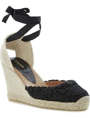 DUNE BLACK Lambo lace espadrilles