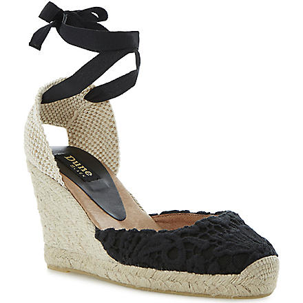 DUNE BLACK Lambo lace espadrilles (Black-fabric