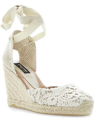 DUNE BLACK Lambo wedge heel sandals