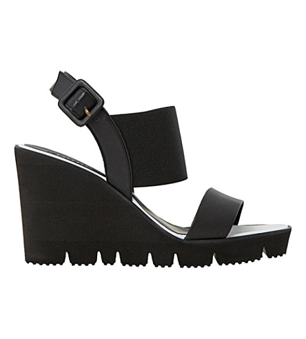 DUNE BLACK Kassie elasticated wedge sandals (Black-leather