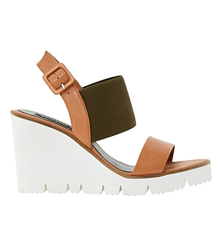 DUNE BLACK Kassie elasticated wedge sandals (Tan-leather