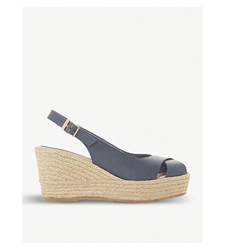 DUNE BLACK Kyri leather slingback wedge sandals (Navy
