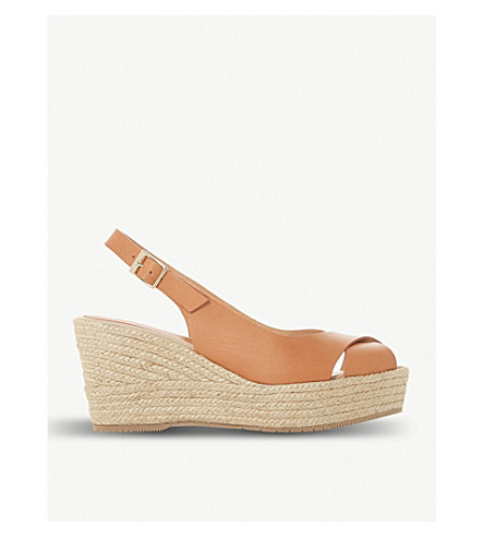 DUNE BLACK Kyri leather slingback wedge sandals (Tan