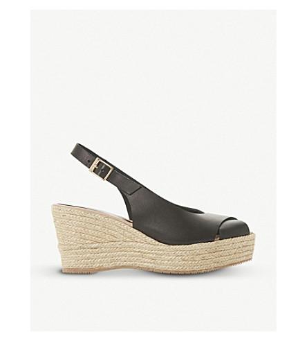 DUNE BLACK Kyri leather slingback wedge sandals (Black-leather