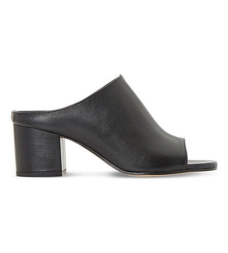 DUNE BLACK Ilaria peep-toe leather mules (Black-leather