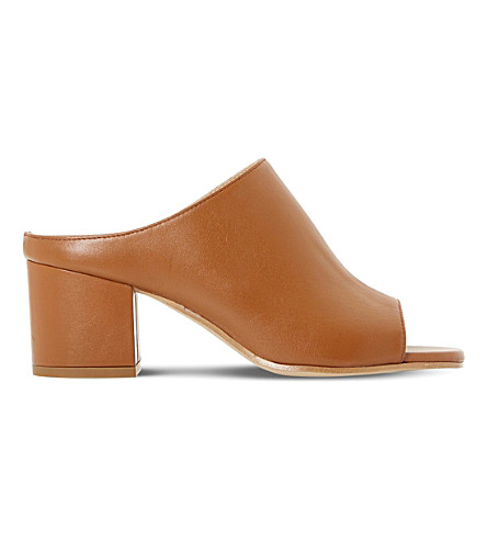 DUNE BLACK Ilaria peep-toe leather mules (Tan-leather