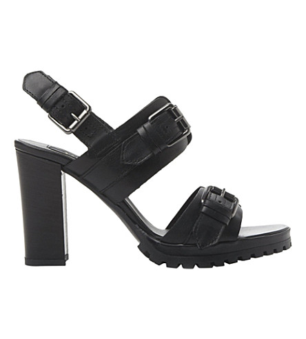 DUNE BLACK Jaimie cleated buckle sandals (Black-leather