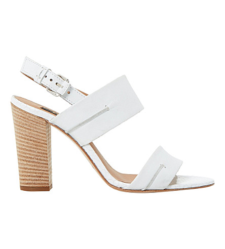 DUNE BLACK Jennifer reptile leather sandals (White-leather