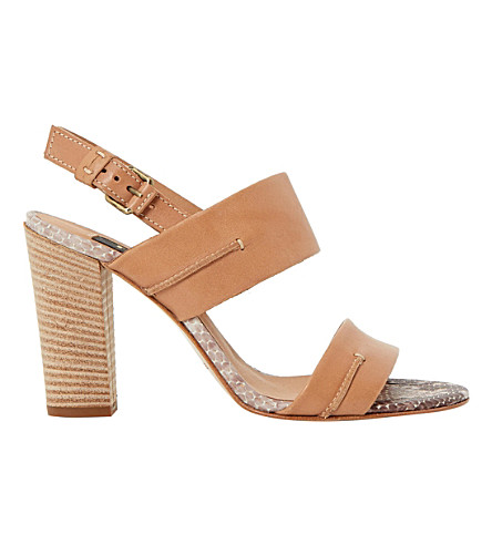 DUNE BLACK Jenifer reptile leather sandals (Tan-leather
