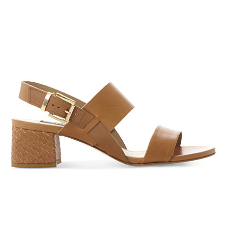 DUNE BLACK Jove leather heeled sandals (Tan-leather