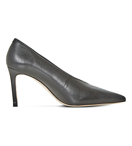 DUNE BLACK Amigos V-cut pointed toe courts (Black-leather