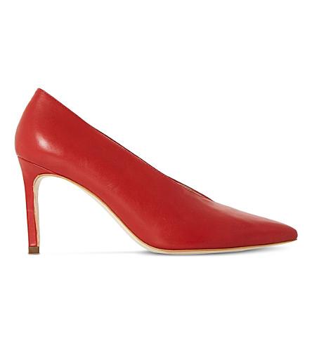 DUNE BLACK 朋友 V 切开了针对性的脚趾宫廷鞋 (红色皮革