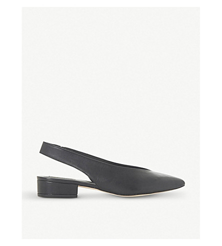 DUNE BLACK Chiara - v cut slingback low block heel (Black-leather