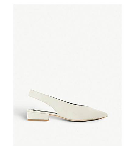 DUNE BLACK Chiara slingback leather courts (White-leather