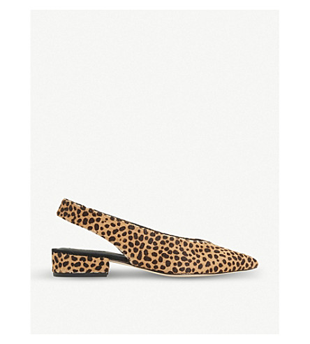DUNE BLACK Chiara slingback leather courts (Leopard-pony