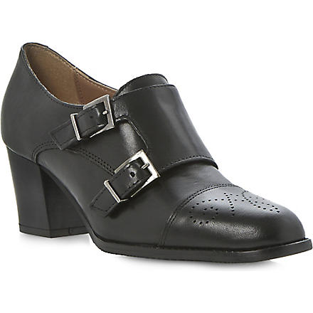 DUNE BLACK Ami leather heeled brogues (Black-leather