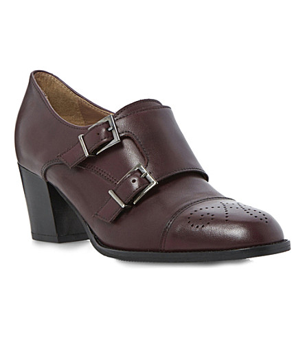 DUNE BLACK Ami leather heeled brogues (Burgundy-leather