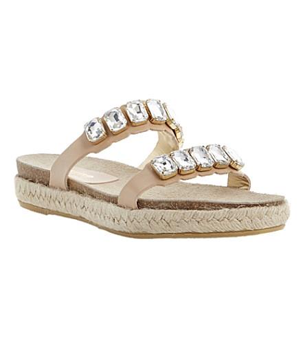 DUNE BLACK Lambert jewelled strap footbed sandals (Tan leather