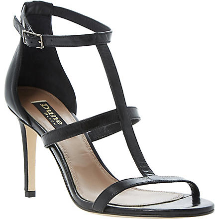 DUNE BLACK Hattie T-bar leather sandals (Black-metallic