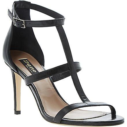 DUNE BLACK Hattie T-bar leather sandals (Black-metallic