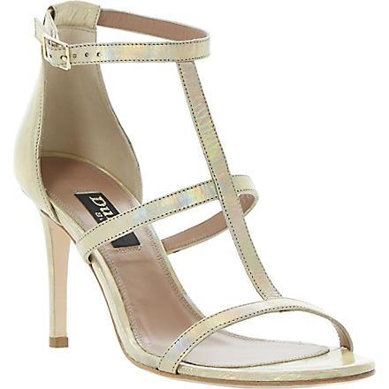DUNE BLACK Hattie T-bar metallic sandals (Gold-metalic