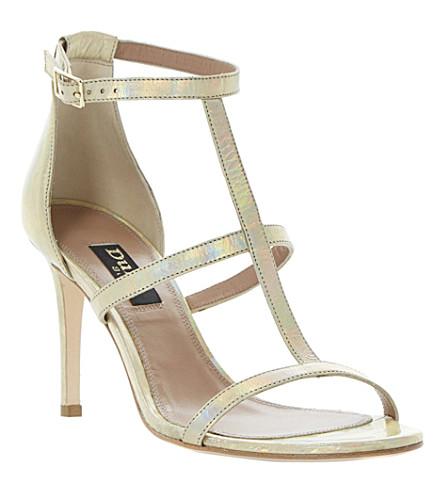DUNE BLACK Hattie T-bar metallic sandals (Gold-metalic