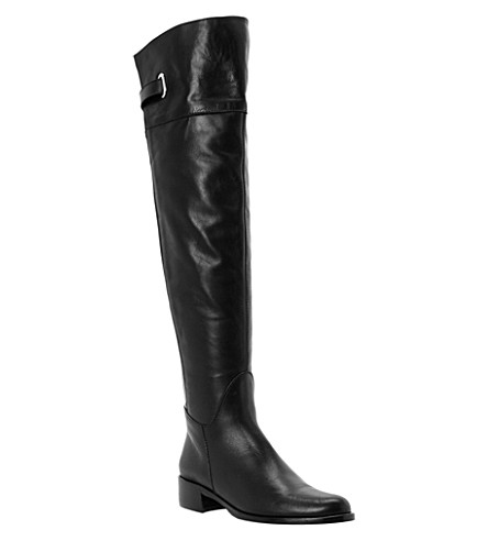 DUNE BLACK Over-the-knee leather riding boots (Black-leather