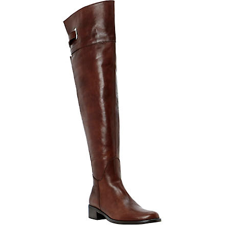 DUNE BLACK Leather over-the-knee riding boots (Brown-leather